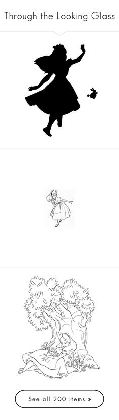 """""""Through the Looking Glass"""" by jenbeecardcompany ❤ liked on Polyvore featuring aliceinwonderland, fillers, alice in wonderland, disney, backgrounds, alice, doodles, text, phrase and quotes"""