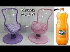Poltrona de Garrafa Pet 💖 - Diy furniture for kids Diy Barbie Clothes, Barbie Dolls Diy, Barbie Doll House, Plastic Bottle Crafts, Plastic Bottles, Upcycled Crafts, Accessoires Barbie, Diy Barbie Furniture, Modern Dollhouse Furniture