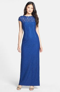 Adrianna  Papell Lace Column Gown with a stunning back