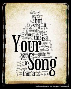 Your Song Lyrics - Elton John - Word Cloud Word Art Print 8x10 - Gift Idea. $15.00, via Etsy.