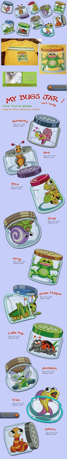 "Some of my favorite designs ever!  ""My Bugs Jar!""  from Smart Needle Embroidery Designs - I've purchased several packs here!"