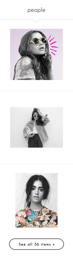 """""""people"""" by snowkookie ❤ liked on Polyvore featuring pictures, photos, people, pics, girls, b&w, backgrounds, lily collins, photo and art"""