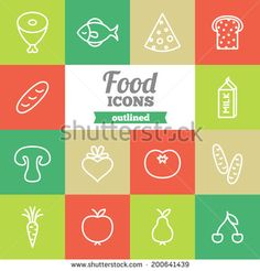 Set of flat food icons  - stock vector