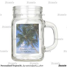Personalized Tropical Beach Palm Tree Wedding Mason Jar
