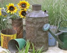 Vintage milk can - perfect for garden area