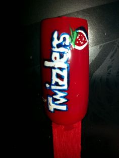 Twizzlers nail art by SJS #nails #nailart #twizzlers #candy