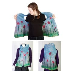 Reversible Merino wolle Damen Weste Hand Filz aus feinster Merino wolle Fasern und glatte Seide (gewebt in Frankreich durch lokale Handwerker). schönen Blautönen.    Diese Kunst-Weste ist ein erstaunlich double sided Faser-Gemälde und eine einzigartige tragbare Kunst.  Jede Oberfläche ist mit eigene Muster entworfen. Ohne jede nähen bietet das Frauen-Kleidungsstück zwei sehr unterschiedliche Stile:    1. verspielt Landschaft mit Autos, Heißluftballon, Baum und Motel (was auch eine Tasche)…