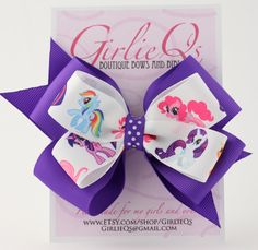 "My Little Pony Hair Bow Hair Clip 5"" x 4"" Purple Rainbow Dash Twilight Sparkle. $6.00, via Etsy."