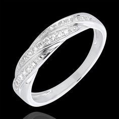 Bague tresse précieuse or blanc et diamants (Bagues) : bijoux edenly