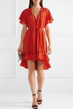 Zimmermann | Flutter Smock ruffled silk crepe de chine mini dress | NET-A-PORTER.COM