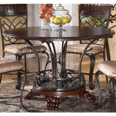 Ashley Furniture Alyssa Round Single Pedestal Dining Table With Metal And Wood Base