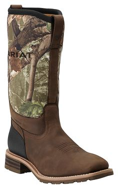 Ariat Men's Hybrid All Weather Oily Brown with Camo Neoprene Top Square Toe Workboots