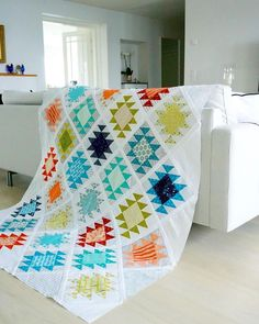 """Quilt top is finished and it goes to the """"waiting for quilting"""" pile. Cute Quilts, Scrappy Quilts, Baby Quilts, Half Square Triangle Quilts, Square Quilt, Southwestern Quilts, Fat Quarter Quilt, Sewing Circles, Contemporary Quilts"""
