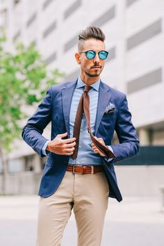 Fancy, Dapper, Men, Smart, Blue Blazer, Ties, Pocket Squares, Tutorial, Folding, Sunglasses, Menswear, Mens Style, Fashion, Mens Fashion, Wardrobe, City Style, Close Up, RayBan, Belts, Close Up, Spitz, GIF