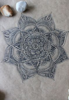 Original Hand Drawn Mandala: Ink on Recycled by yourhomemadezen by wteresa