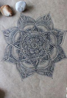 Original Hand Drawn Mandala: Ink on Recycled by yourhomemadezen by wteresa