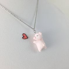 Cute Pig Necklace // Polymer Clay Pink Pig Charm // by CrownedClay on Etsy