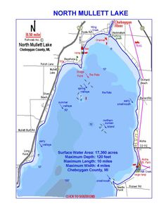 Burt lake mullett lake michigan wood map home lakes for Mullett lake fishing