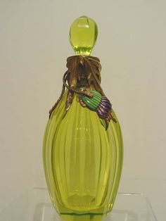 Art Nouveau Austrian Glass Perfume Bottle Mounted w/Bronze and Enamel
