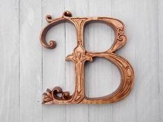 Letter B Wood Wall Art Wood Carving Wall Hanging or Furniture Applique - 6 to tall Ornate Letter B - Ash Wood, E American Stain, Satin Beautiful Handwriting, Distressed Painting, Letter B, Wood Texture, Custom Wood, Wood Species, Wood Wall Art, Textures Patterns, Wood Carving