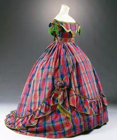 1866 ballgown in a bright plaid.
