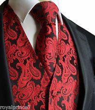 BLACK RED XS to 6XL Paisley Tuxedo Suit Dress Vest Waistcoat & Neck tie Wedding