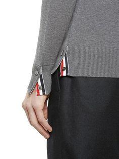 thom browne - men - knitwear - intarsia stripes merino wool sweater