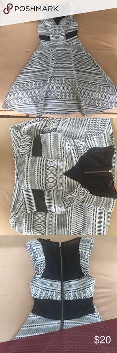 Material Girl Skater Dress Black & white patterned & textured skater dress. Mesh sides & neckline. Zipper in the back. Material Girl Dresses Midi