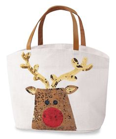 How cute is this sparkly reindeer tote by Mud Pie! Made of jute with faux leather handles, it features a reindeer made of festive sequins. The tote measures 1 Jute Tote Bags, Reusable Tote Bags, Mudpie Christmas, Christmas Gift Bags, Christmas 2017, Christmas Crafts, Merry Christmas, Santa And Reindeer, Large Purses