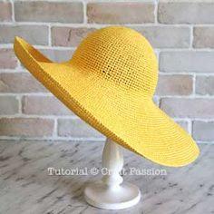 Beach Hat - Free Crochet Pattern & How to Make Crochet Hat With Brim, Crochet Summer Hats, Knitted Hats, Crochet Hats, Crochet Skirts, Sombrero A Crochet, Raffia Hat, Wide Brim Sun Hat, Single Crochet Stitch