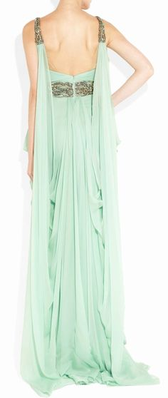 Mint Grecian Gown, a good look for brides maids Grecian Gown, Chiffon Gown, Mint Gown, Bridesmaid Dresses, Prom Dresses, Beautiful Gowns, Dream Dress, Pretty Dresses, Dress To Impress
