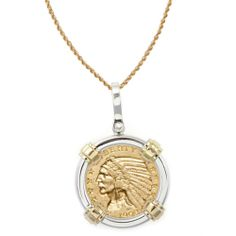 American Coin Treasures 14k Gold Sterling Silver $5 Indian Head Gold Piece Half
