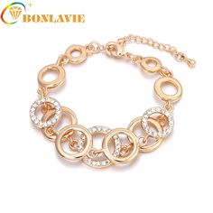 New Fashion Charm female Rose Gold Plating Multilayer Symmetry Circle link Rhinestones  Bracelets Weddings For Women 99d4d909ff32
