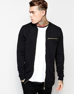 ASOS Longline Bomber In Jersey With Gold Zips