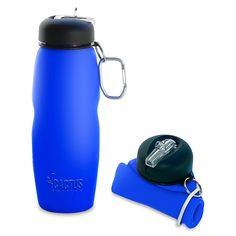 Cactus Bottle – Silicone Collapsible Water Bottle (blue)