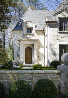 Stone wall & boxwood!