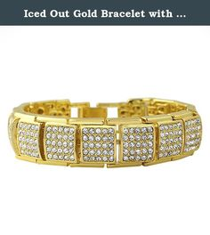 Iced Out Gold Bracelet with Cube Links. Iced Out Gold Bracelet with Cube Links. This gold hip hop bracelet style is very popular. Covered in shiny crystals that shine bright and look expensive, yet still affordable. Features a caged back on the links for a more comfortable wear. Gold plated to shine bright. The popularity of gold jewelry keeps growing. Perfect to ice out any mans wrist. Celebrities, rappers, and hip hop artists wear bling bling bracelets. Here is your chance to get this…