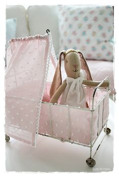 Maileg bunny in a vintage pram - toddler girls toy