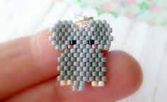 Grey Elephant Seed Bead Pattern Beaded Charm Brick by BeadCrumbs