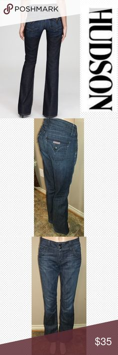 """Hudson 28x33 Boot Cut Hudson Signature Boot Cut Jeans size 28, inseam 33"""", waist laid flat 15.5"""", rise 8"""". Great condition. First picture for reference. Hudson Jeans Jeans Boot Cut"""