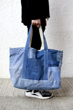 Denim Patchwork Weekend Bag by FirstEditionDesign on Etsy
