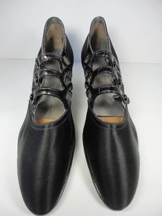 1b61a1af0a Exceptional Never Worn Edwardian Black Silk and Leather Shoes by The  Krippendorf. Dittmann Co