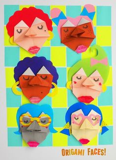 How to fold origami faces with kids- fun craft and art project, step-by-step tutorial included (with video)