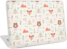 Cuties! Cartoon seamless patterns with geometric elements and lovely flat style animals and objects: foxes, bears, tepees, arrows and feathers. These textures look great on fabric and print! • Also buy this artwork on laptop covers, apparel, stickers, and more.