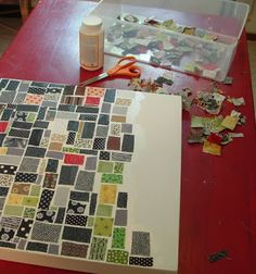 start snipping up bits of scrap fabric, bust out the Mod Podge, and go to town on a wooden box frame painted white. Cart Before The Horse: On the Table (Fabric Mosaic)