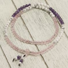 Quartz Howlite Amethyst Mala Rose Quartz, Beaded Necklace, Necklaces, Amethyst, Pure Products, Stone, Jewelry, Collection, Beaded Collar