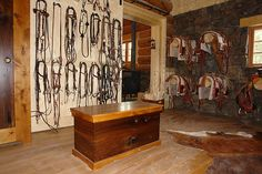 barn tack room organization. i need this, on a smaller/less fancy scale.