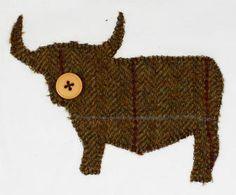 Appliqué Highland Cow with Button Nose