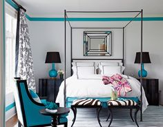 Black, white & turquoise bedroom.