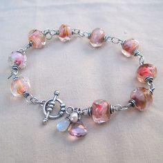 Lampwork Bracelet Moonstone Pearl Gemstone Sterling Silver Blush. $125.00, via Etsy.